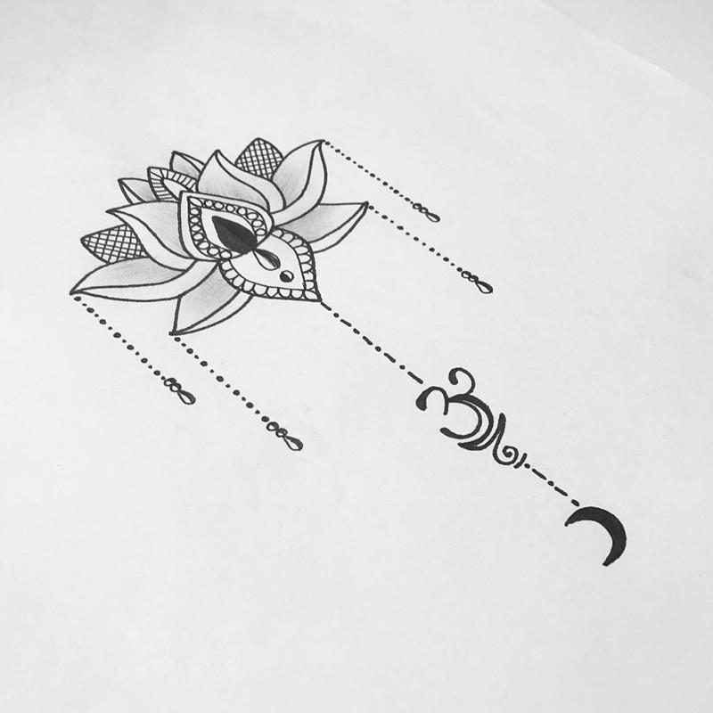 做营养师的益先生莲花纹身手稿