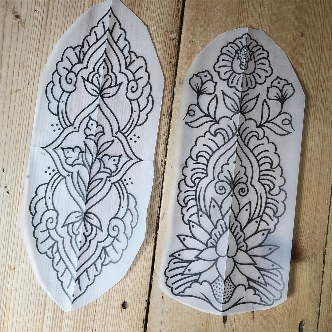 做印刷厂的杜小姐梵花纹身手稿