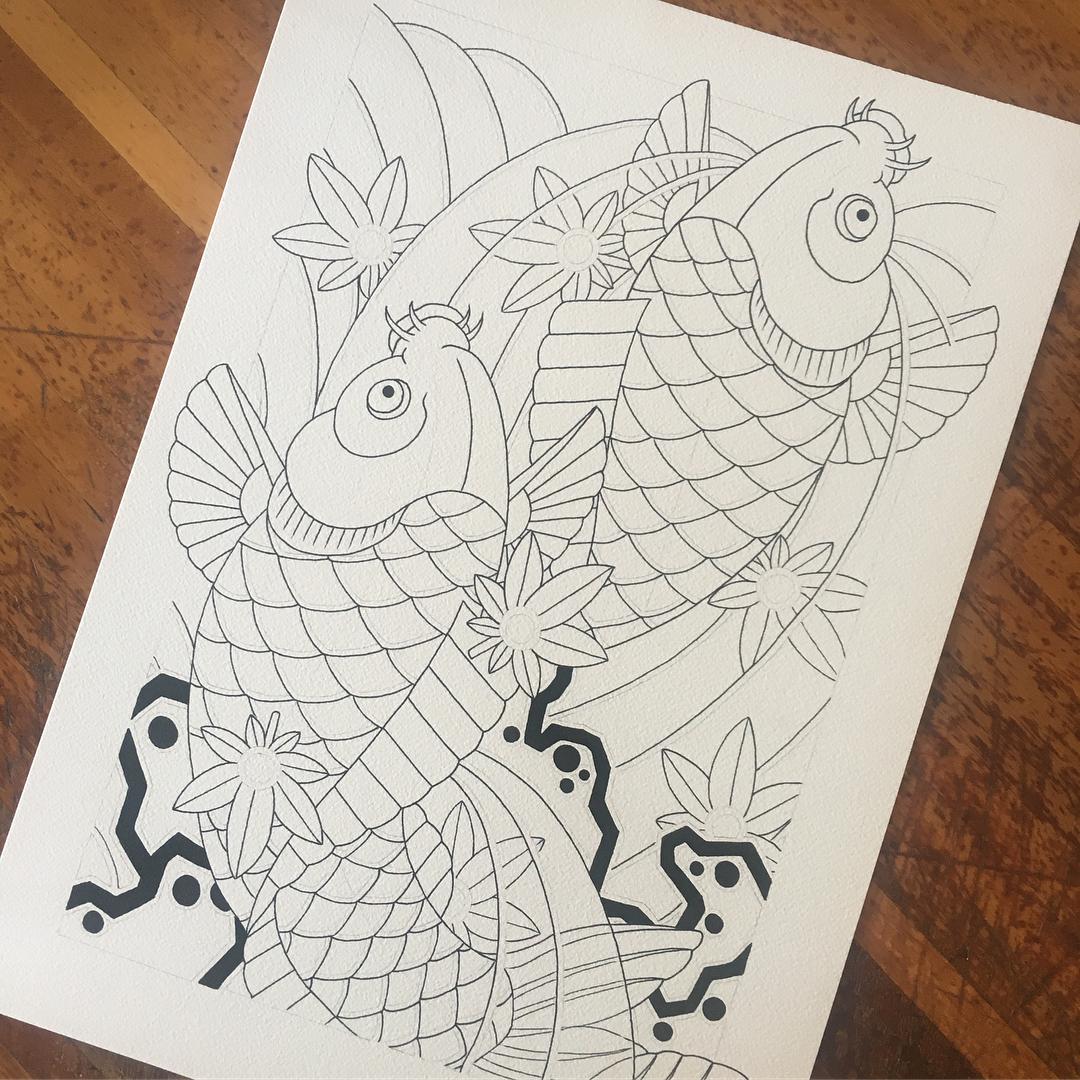 做投资分析专员的岑先生鲤鱼纹身手稿
