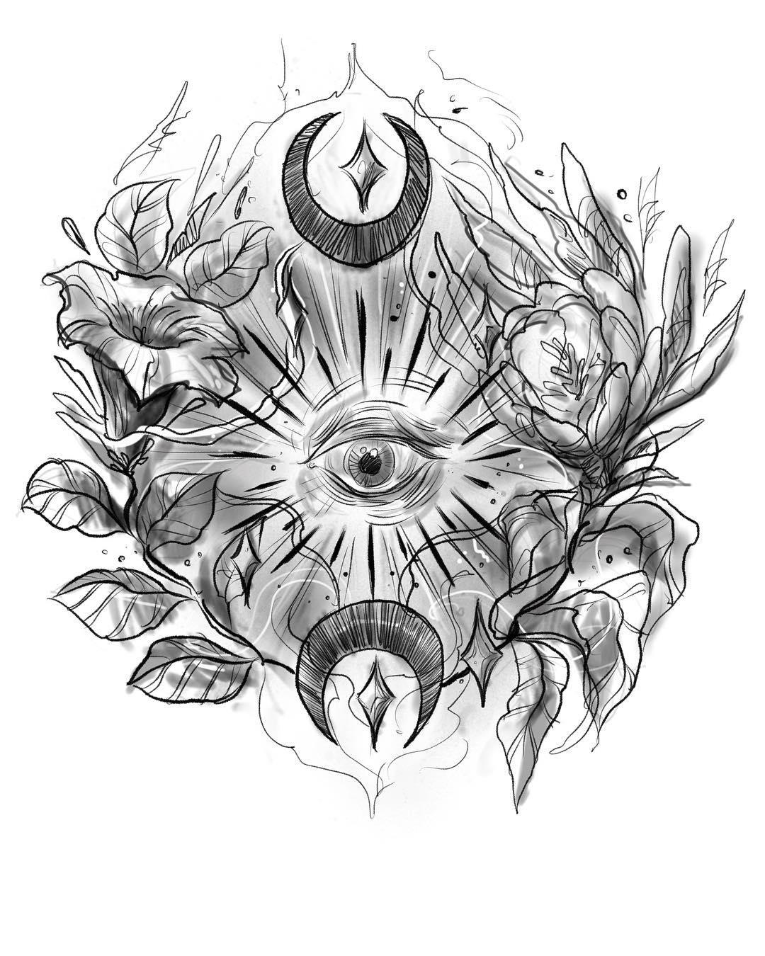 青岛京沪山庄做礼品的萧先生上帝之眼纹身手稿